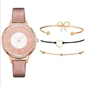 Jewelry - Women's Quartz Watch Bracelet Set, Rose Gold color